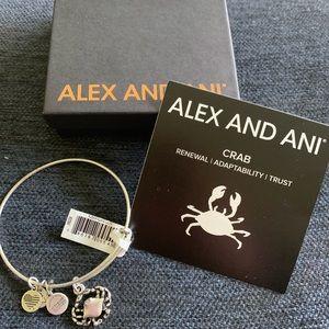 NWT- Alex and Ani Crab silver finish bangle